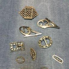 Antigüedades: LOTE 9 HEBILLAS CINTURONES ZAPATOS MODA SEÑORA FIN S XIX PPIO S XX METAL 8 X 8 CM. Lote 195296145