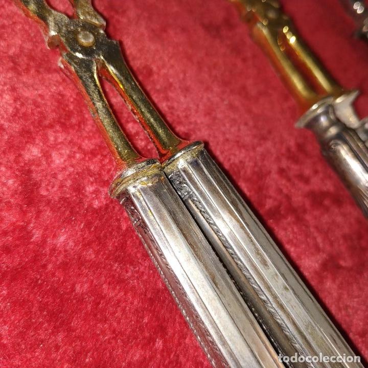 Antigüedades: LOTE DE 5 CUBIERTOS DE SERVIR. METAL CHAPADO EN PLATA. ESPAÑA. SIGLOS XIX-XX - Foto 4 - 195303980