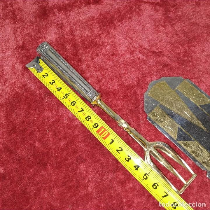 Antigüedades: LOTE DE 5 CUBIERTOS DE SERVIR. METAL CHAPADO EN PLATA. ESPAÑA. SIGLOS XIX-XX - Foto 21 - 195303980