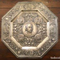 Antigüedades: PLATO O BANDEJA EN RELIEVE CRISTÓBAL COLÓN (C. 1890). Lote 195311636