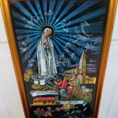 Antigüedades: MISTERIO VIRGEN DE FATIMA - TELA ACRISTALADA - VINTAGE - AÑOS 1960. Lote 195318448