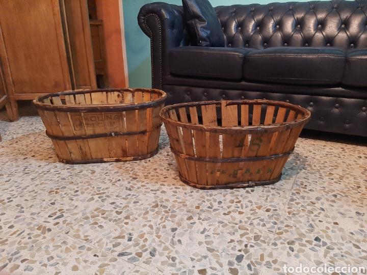 Antigüedades: Lote 2 banastos / barquillas / cajas madera - Foto 2 - 195318650