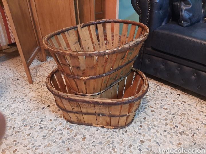 Antigüedades: Lote 2 banastos / barquillas / cajas madera - Foto 3 - 195318650