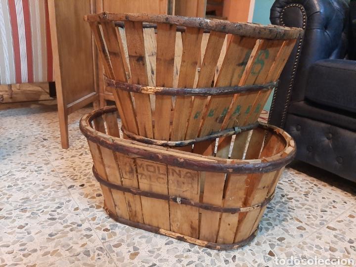 Antigüedades: Lote 2 banastos / barquillas / cajas madera - Foto 4 - 195318650