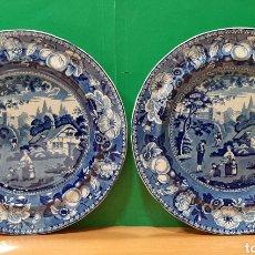 Antigüedades: PAREJA DE PLATOS DE PORCELANA. BRITISH VIEWS, MARCAS AL DORSO.. Lote 195319212