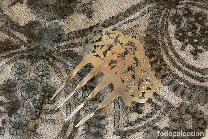 Antigüedades: ANTIGUA PEINETA DE PLATA - Foto 3 - 195319312