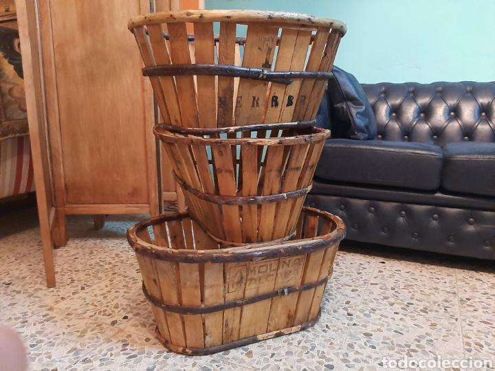 Antigüedades: Lote 3 barquillas/cajas madera - Foto 3 - 195319585