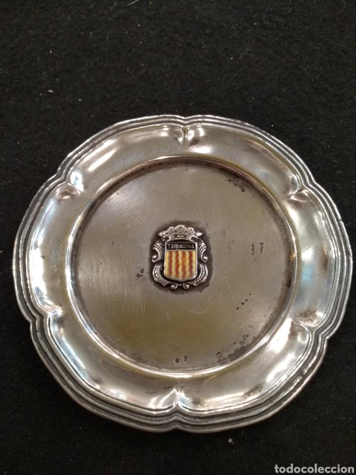 Antigüedades: Plato / bandeja de plata con escudo de la comunidad Tarragona - Foto 4 - 195319767