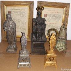 Antigüedades: LOTE DE IMAGENES RELIGIOSAS DE METAL Y 2 SACRAS. Lote 195319998