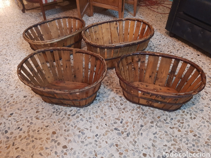 Antigüedades: Lote 4 banastos/barquillas madera - Foto 3 - 195320660
