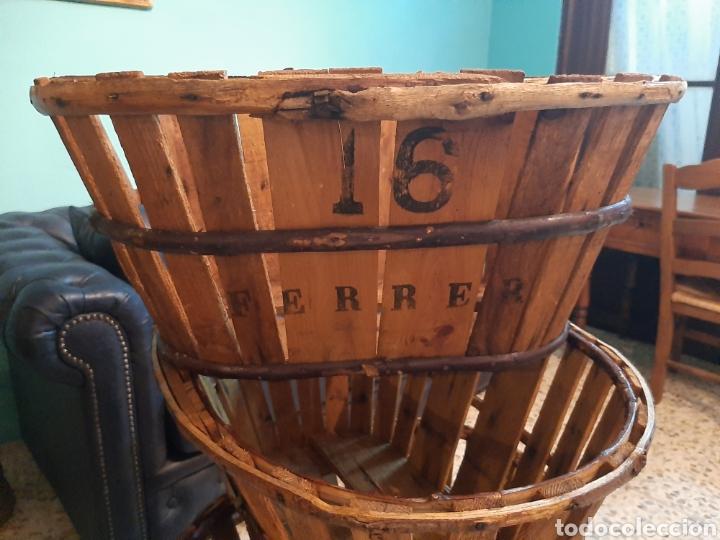Antigüedades: Lote 4 banastos/barquillas madera - Foto 4 - 195320660