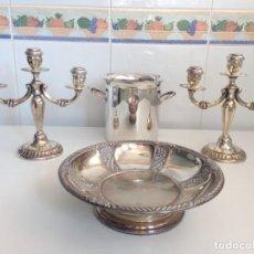 Antigüedades: CANDELABROS 3 BRAZOS, BANDEJA Y CUBITERA DE ALPACA. Lote 195323221