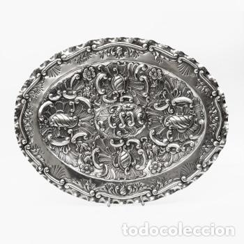 Antigüedades: Juego de tres bandejas de plata estilo Luis XV Rococo Pp.XX - Foto 3 - 195323631