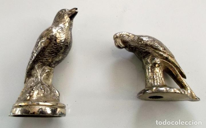 Antigüedades: Lote de Pájaros en metal plateado para decoración - Foto 3 - 195332035