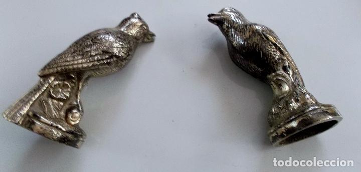 Antigüedades: Lote de Pájaros en metal plateado para decoración - Foto 4 - 195332035