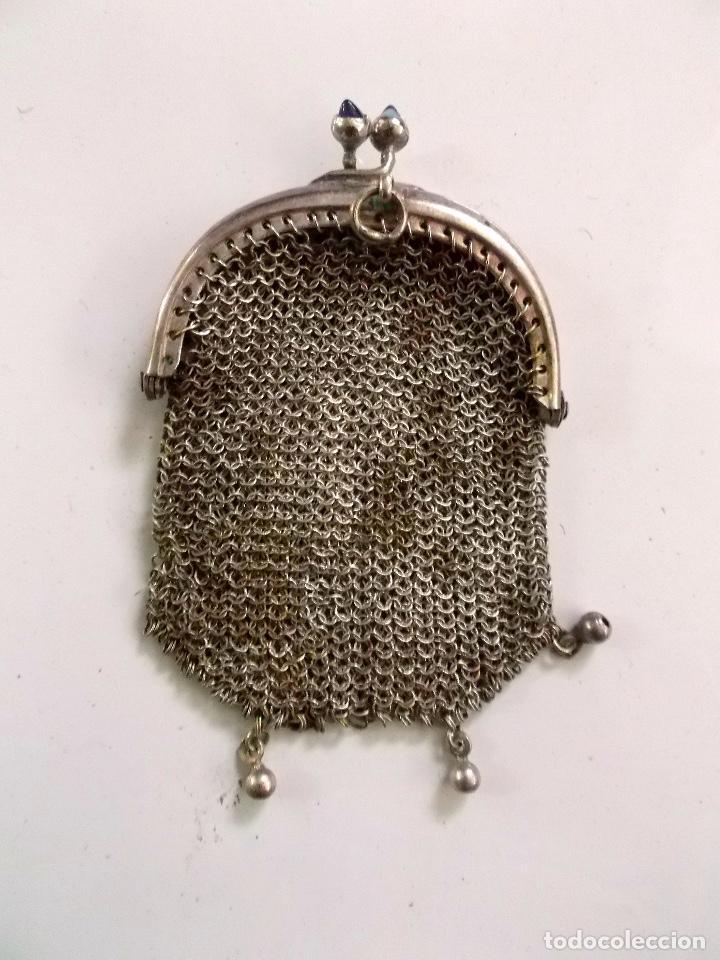 LOTE DE 3 MONEDEROS DE MALLA DE METAL PLATEADO 1910 - 20 (Antigüedades - Plateria - Varios)
