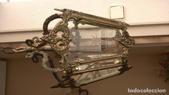 Antigüedades: Lámpara de bronce y cristal. Antigüedad. - Foto 2 - 195333072