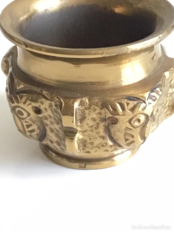 Antigüedades: Mortero bronce y figura gato de plomo macizo - Foto 4 - 195338198
