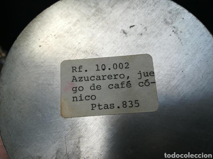 Antigüedades: Vieja azucarera sin estrenar de zinc todavía con el precio en pesetas - Foto 3 - 195338665