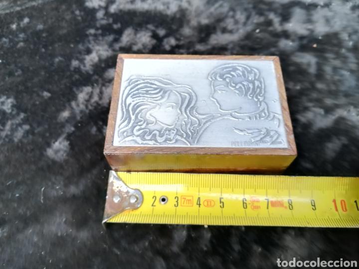 Antigüedades: Pequeña caja con plancha de plata de ley firmado Pellegrini - Foto 4 - 195338858