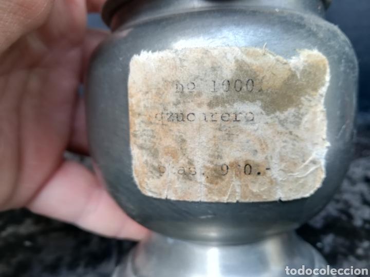 Antigüedades: Antigua azucarera de zinc sin usar con precio en pesetas - Foto 2 - 195339422