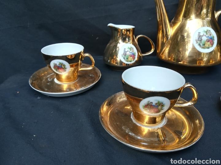 Antigüedades: Conjunto de de porcelana para café dorado años 60 - Foto 2 - 195340600