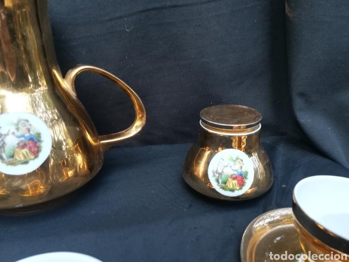 Antigüedades: Conjunto de de porcelana para café dorado años 60 - Foto 3 - 195340600