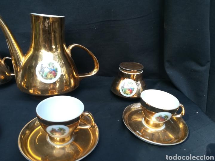 Antigüedades: Conjunto de de porcelana para café dorado años 60 - Foto 7 - 195340600