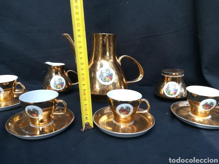 Antigüedades: Conjunto de de porcelana para café dorado años 60 - Foto 8 - 195340600