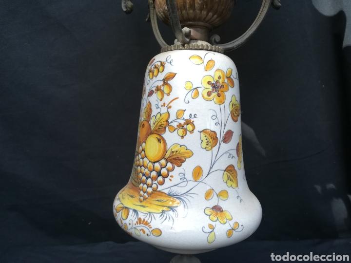 Antigüedades: Antigua lampara de porcelana, bronce y tulipa de opalina - Foto 4 - 195340780