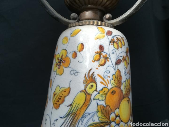 Antigüedades: Antigua lampara de porcelana, bronce y tulipa de opalina - Foto 11 - 195340780