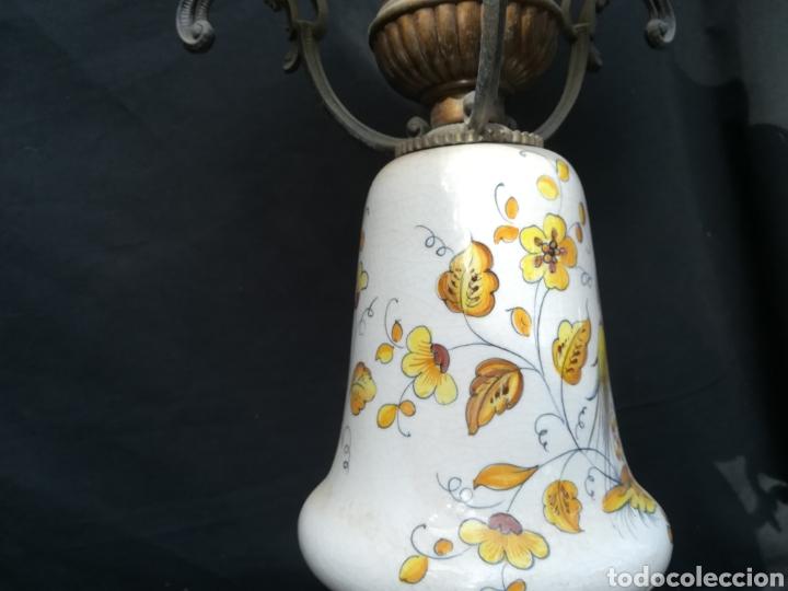Antigüedades: Antigua lampara de porcelana, bronce y tulipa de opalina - Foto 13 - 195340780