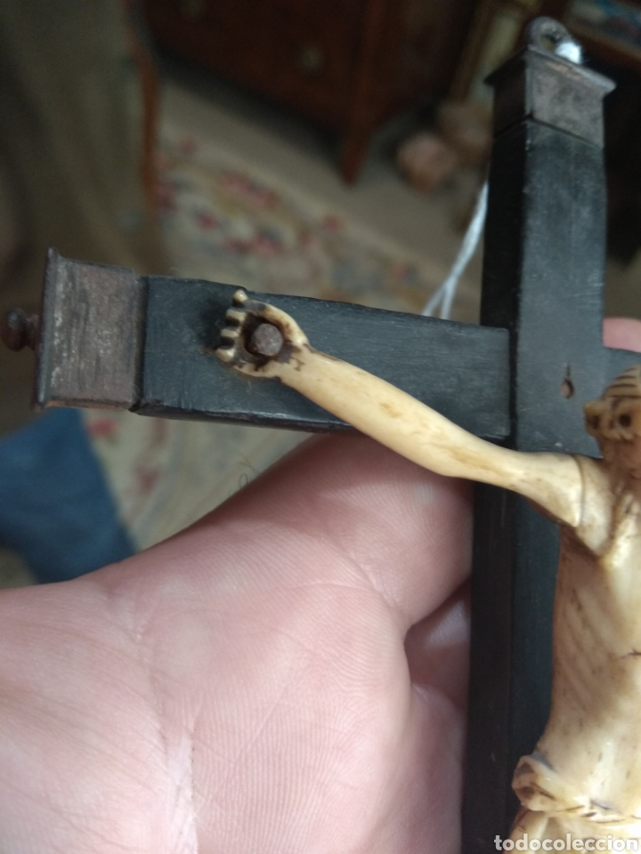Antigüedades: Antiguo Crucifijo - Cristo de Hueso - - Foto 5 - 195344218