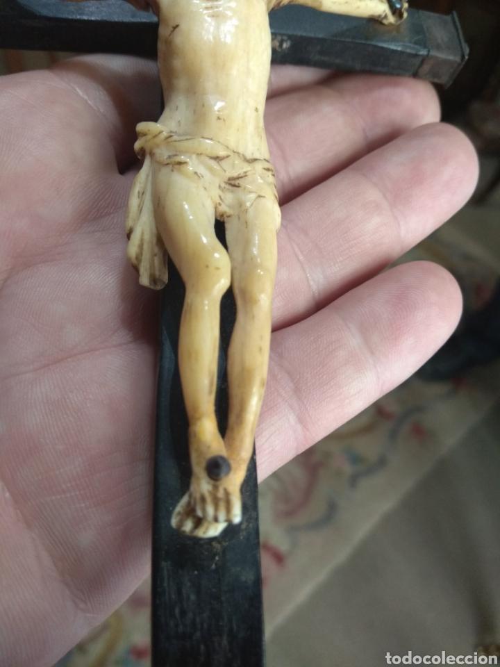 Antigüedades: Antiguo Crucifijo - Cristo de Hueso - - Foto 9 - 195344218