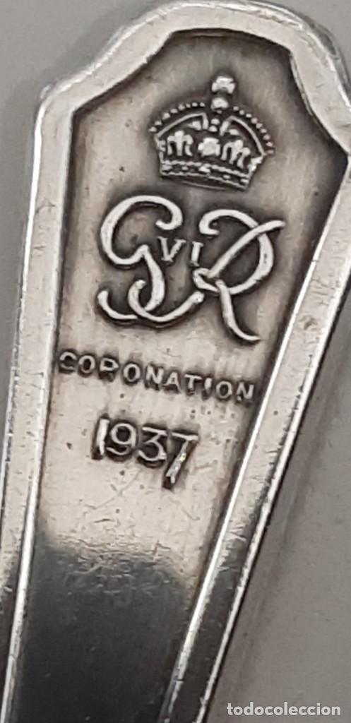 Antigüedades: Pareja de tenedores plateado Silver, coronation de elizabeth-george VI . Año 1937 - Foto 2 - 195344936