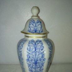 Antigüedades: PRECIOSO TIBOR JARRÓN DE PORCELANA DE HISPANIA. Lote 195345288