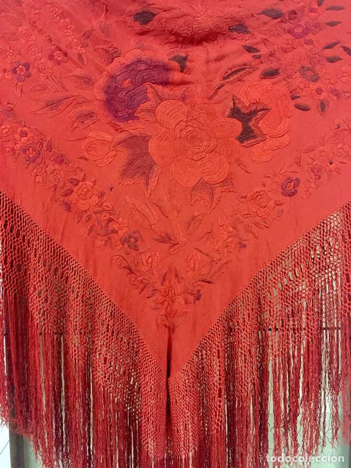 Antigüedades: Antiguo mantón de manila. Con defectos. - Foto 5 - 195353616