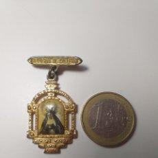 Antigüedades: ANTIGUO RECUERDO RELIGIOSO DE CULLERA DORADO Y ESMALTADO - VALENCIA. Lote 195354392