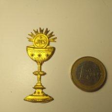 Antigüedades: RELIQUIA CALIZ DORADO JHS. Lote 195356467