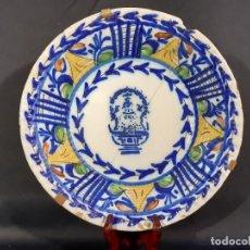 Antigüedades: PLATO, FUENTE DE CERÁMICA POLICROMADA. MANISES. SIGLO XIX. LAÑADO Y PÉRDIDA DE MATERIAL.LAS. Lote 195362135