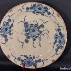 Antigüedades: GRAN PLATO DE CERÁMICA. ADORMIDERA. TALAVERA. SIGLO XVIII-XIX.. Lote 195363551