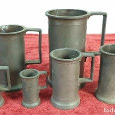 Antigüedades: CONJUNTO DE 6 MESURAS EN METAL. DESDE 1 LITO A MEDIO DECILITRO. SIGLO XIX-XX. Lote 195365641