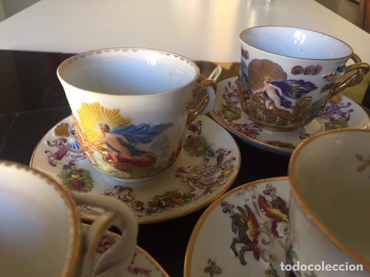 Antigüedades: CAPIDIMONTE. 5 TAZAS DE CAFÉ EN PORCELANA XIX/XX - Foto 3 - 195366045