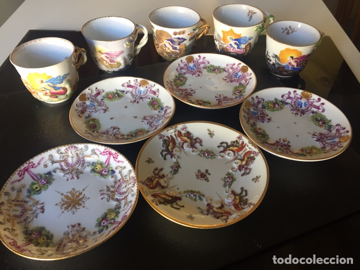 Antigüedades: CAPIDIMONTE. 5 TAZAS DE CAFÉ EN PORCELANA XIX/XX - Foto 5 - 195366045