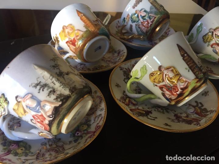 Antigüedades: CAPIDIMONTE. 5 TAZAS DE CAFÉ EN PORCELANA XIX/XX - Foto 7 - 195366045
