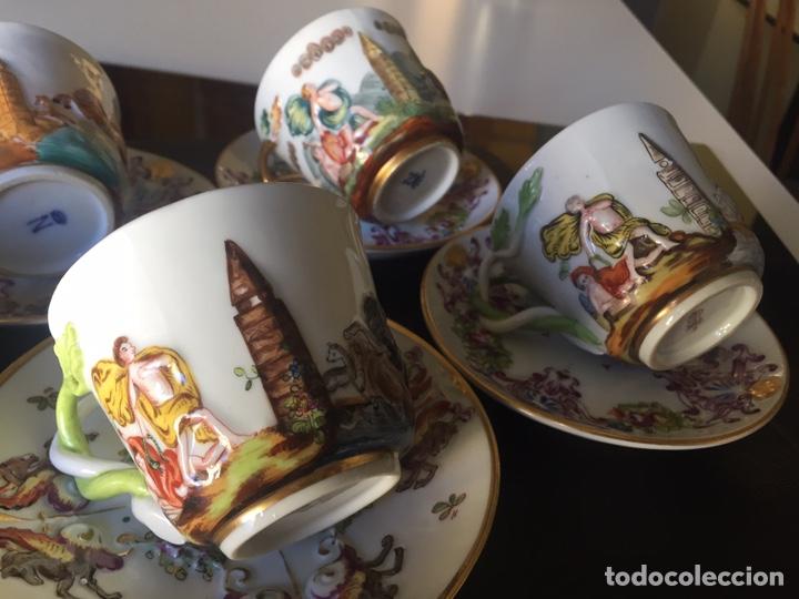Antigüedades: CAPIDIMONTE. 5 TAZAS DE CAFÉ EN PORCELANA XIX/XX - Foto 8 - 195366045
