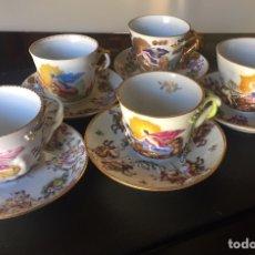 Antigüedades: CAPIDIMONTE. 5 TAZAS DE CAFÉ EN PORCELANA XIX/XX. Lote 195366045