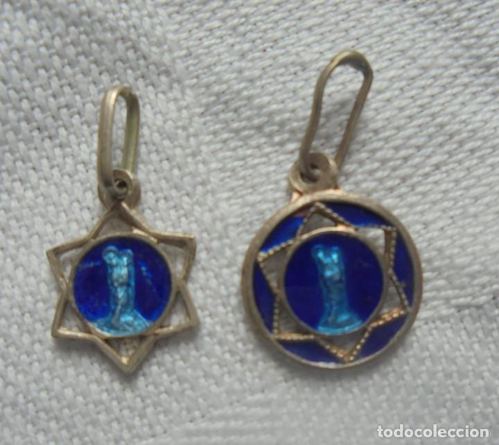 2 MEDALLAS PLATA ESMALTADAS ANTIGUAS (Antigüedades - Religiosas - Medallas Antiguas)