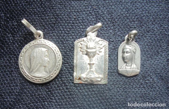 3 MEDALLAS PLATA ANTIGUAS LA INMACULADA/N.S.MONTSERRAT (Antigüedades - Religiosas - Medallas Antiguas)