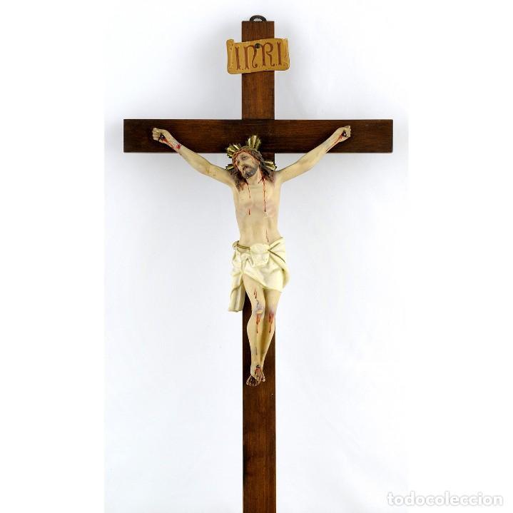 CRUCIFICADO EN ARCILLA. FECHA CA. 1900 (Antigüedades - Religiosas - Crucifijos Antiguos)